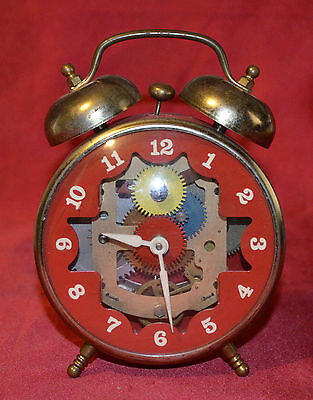 Vintage Robert Shaw control Co Lux Skeleton Dial Alarm Clock Works Well