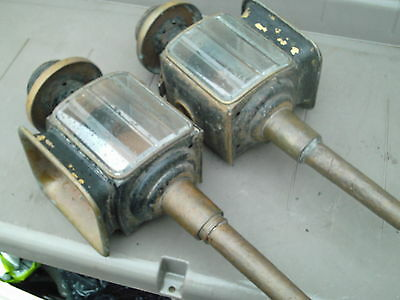 Large Pair Of  Antique Driving Carriage Buggy  Lamps  Lights Bevelled Glass