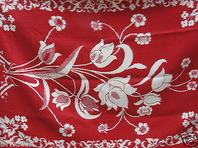 """LARGE HEAVY 100% WOOL THROW BLANKET TAPESTRY 88""""x60"""" RED WHITE FLORAL DESIGN VTG"""