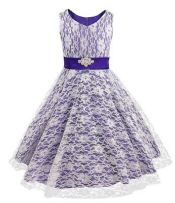 Violet Kids Communion Prom Party Princess Pageant Wedding Flower Girl Dress 8Y
