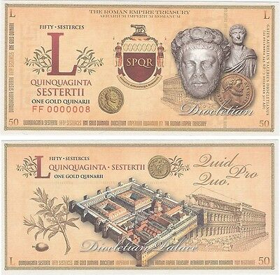 Italy - Roman Empire 50 L Sesterces NEW Fantasy Banknote - Diocletian