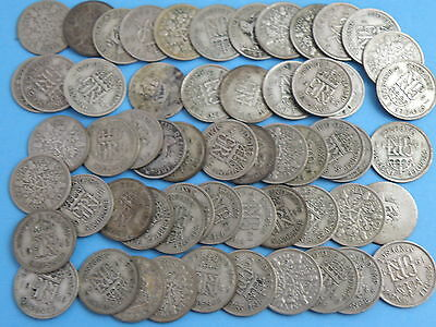 57 x King George V & KING GEORGE VI - SIXPENCE COINS - Good Silver Content