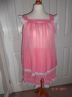 Baby doll nighty and bloomers set,adult baby lingerie pink blue nylon sissy mens