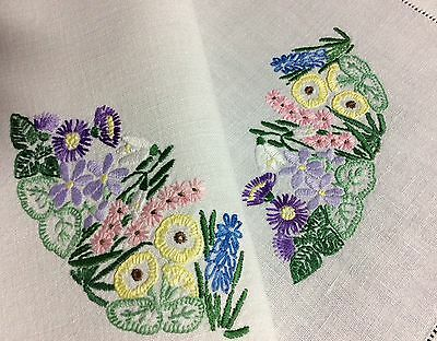 Lovely Large Vintage Linen Hand Embroidered Tray Cloth ~ Spring Florals.