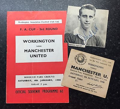 MANCHESTER UNITED v WORKINGTON 1958 MUNICH - BUSBY BABES ( RARE WITH TICKET )