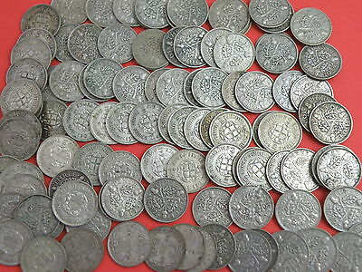 103 x King George V & VI - SILVER THREEPENCE COINS - Good Silver Content
