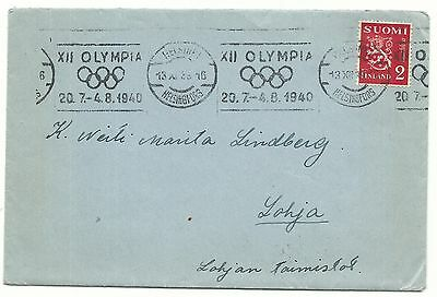Finland Yr.1940 Olympic Cancel Cover.used