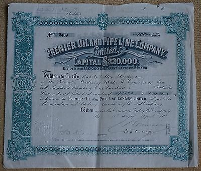 G.B. Premier Oil and Pipe Line Co. Ltd. Ordinary Share certificate 1911 VF.