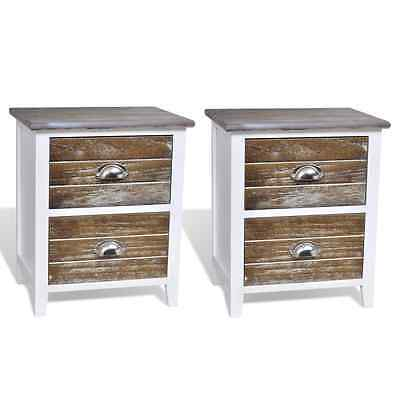 Wood Bedside Cabinets Tables Set of 2 Nightstand Drawers Bedroom Telephone Sides