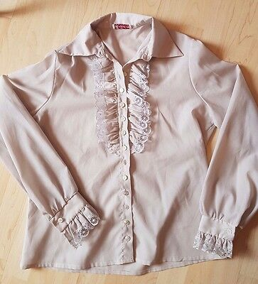 Jacky: Vintage grey striped long-sleeve shirt with ruffle lace detail : EUR 38
