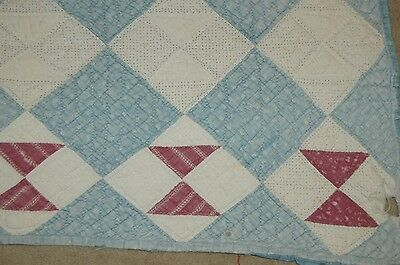Antique Calico Cadet Blue Triangle Primitive Patchwork Handquilted Quilt Piece