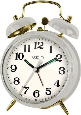 Acctim Selworth Double Bell Keywound Off White Desk Bedside Alarm Clock – 15272