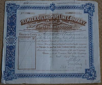 G.B. Premier Oil and Pipe Line Co. Ltd. Preference Share certificate 1912 VF.