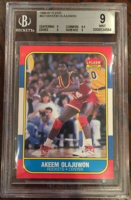 1986 Fleer Hakeem Olajuwon #82 Rockets Rookie Rc Bgs 9 Mint