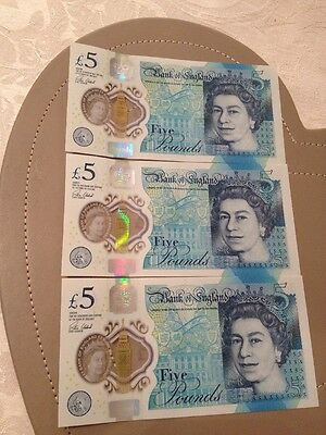 3x Five Pound Notes. AA11