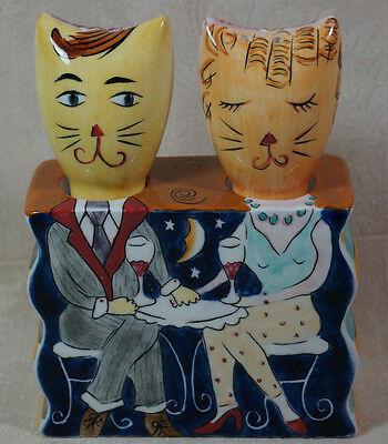 Vintage Clay Art Reversible Cat Salt And Pepper Shaker Set Cats Dining Out