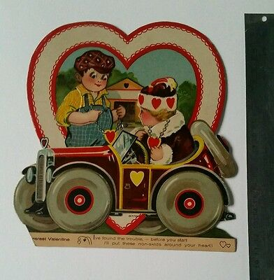 Vintage Mechanical Valentine Boy &  Sweetheart In Classic Car
