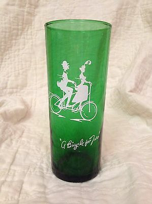 """Anchor Hocking """"Bicycle Built For Two"""" Forest Green Glass Vintage"""