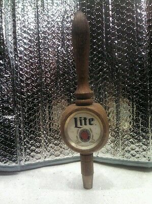 Miller Lite Wood Tap Handle 3 Sided with Brass Tip