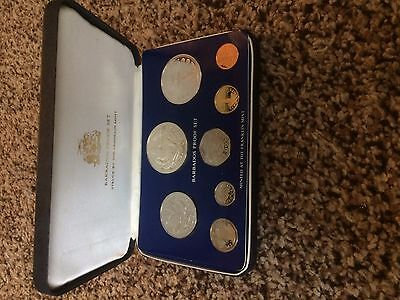 Barbados 1975 8-coin proof set 10$ & 5$ silver sealed cased Franklin Mint + coa