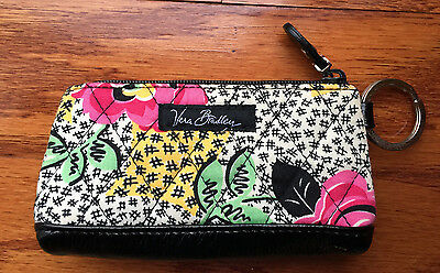Vera Bradley coin purse wallet with zipper, snap holder for coins, key ring