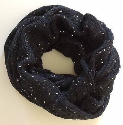 Knitted Tube Scarf in Black With Silver Sequins