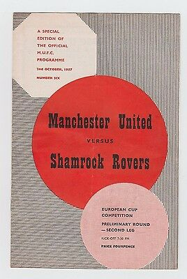 Orig.PRG   European Cup 1957/58   MANCHESTER UNITED - SHAMROCK ROVERS  !!  RARE