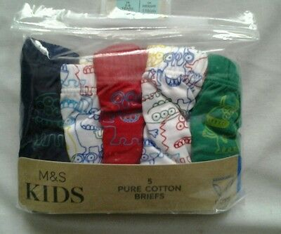 M&S BoyS 5-6Years 5 Pack Pure Cotton Briefs. BNWT