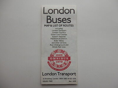 london buses map & list of routes 1979