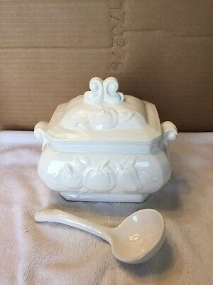 Vintage Ceramic Soup Tureen/Gravy Boat With Ladle And Lid