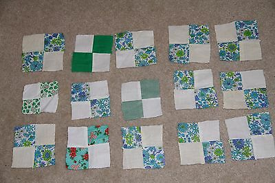 Lot of 15 vintage feedsack 1930s/1940s 4-patch quilt blocks: blues & greens