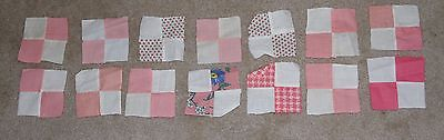 Lot of 14 vintage feedsack 1930s/1940s 4-patch quilt blocks: pinks #2
