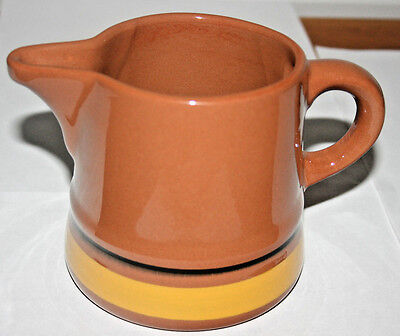"""STANGL Red Stoneware Large Pitcher, Yellow & Black Accent Lines,""""Yellow Flower"""""""