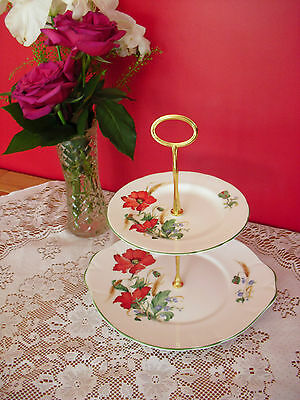 Lovely Vintage Duchess bone china Poppies 2 tier cake stand