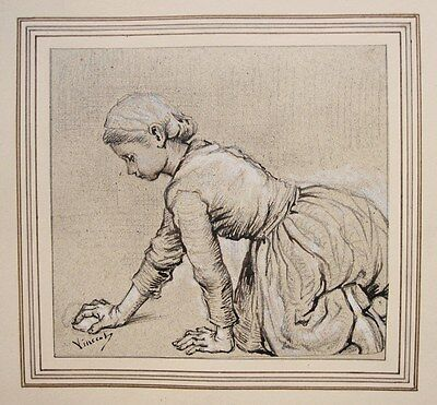 VAN GOGH. Study of a woman scrubing the floor. Pencil, ink, hightened with white