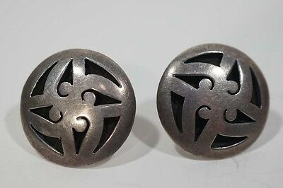 B183 Signed Paf Small Round Mexico TR-143 Round Stud Shadow Box Earrings 2.7 Gr
