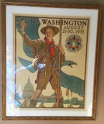 Extremely Rare 1935 1st National Boy Scout Jamboree Poster - Norman Rockwell