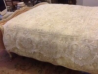 Antique French Textile Hand Made Lace Beautiful Bed Coverlet