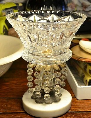 Vintage Imperlux Hand-Cut Crystal Brass Marble Prism Pedestal Console/Compote