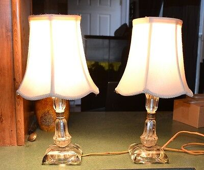 Pair Antique/Vintage Art Deco LUCITE GLASS BRASS BOUDOIR TABLE LAMPs with Shades