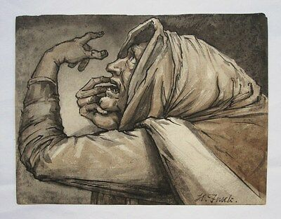 HENRY FUSELI.  A pen/ink study of one of the Witches from Shakespeare's Macbeth.
