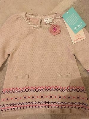 Monsoon Baby Girl Long Sleeve Dress New With Tags Size 3-6 Months
