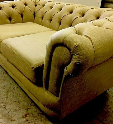 Chesterfield Chesterfeild Sofa Set In A Next Linen Biscuit Fabric 3  And 2 Inc