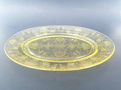 "Vintage Depression Glass Yellow Amber Serving platter 11.5"" x 8"""