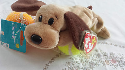MINT TY Bones the Dog Beanie Baby with tag error, date error, PVC pellets