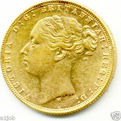 1874 M Queen Victoria Melbourne Full Gold St.george Back Sovereign Coin