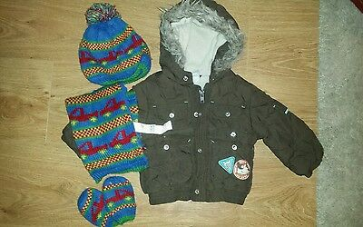 baby boy 6-9 months clothes bundle coat, hat, scarf and gloves