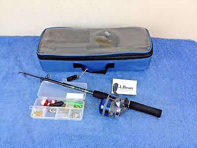 LL Bean Telescope Travel Fishing Rod Set Carrying Case Fly Lure Box LB-5053