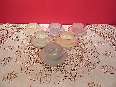 Set of 6 Vintage  Arcopal Coloured glass coffee cups and saucers Made in france