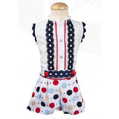 New Girls Official Classic Spanish White-Navy-Red Blouse & Spot Shorts Set 3-4 Y